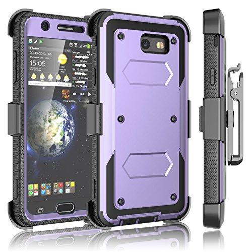 Tekcoo Galaxy J7 Sky Pro Case, Tekcoo Galaxy J7 V/J7V/J7 Perx Holster Clip, [TShell] [Built-in Screen] Locking Secure Swivel Belt Kickstand Phone Cover Full Body Cover for Samsung J7 2017 -Lavender