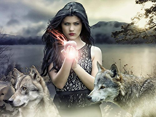 LAMINATED 32x24 inches Poster: Gothic Fantasy Dark Female Witch Fantasy Girl Fantasy Woman Snow White Fairytale Fantasy Character Wolves Apple Fantasy Wallpaper Mystery Mysterious Woman Medieval (Gothic Snow)