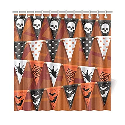IIAKXNB Home Decor Bath Curtain Orange Black Halloween Bunting Decoration Transparencies Polyester Fabric Waterproof Shower