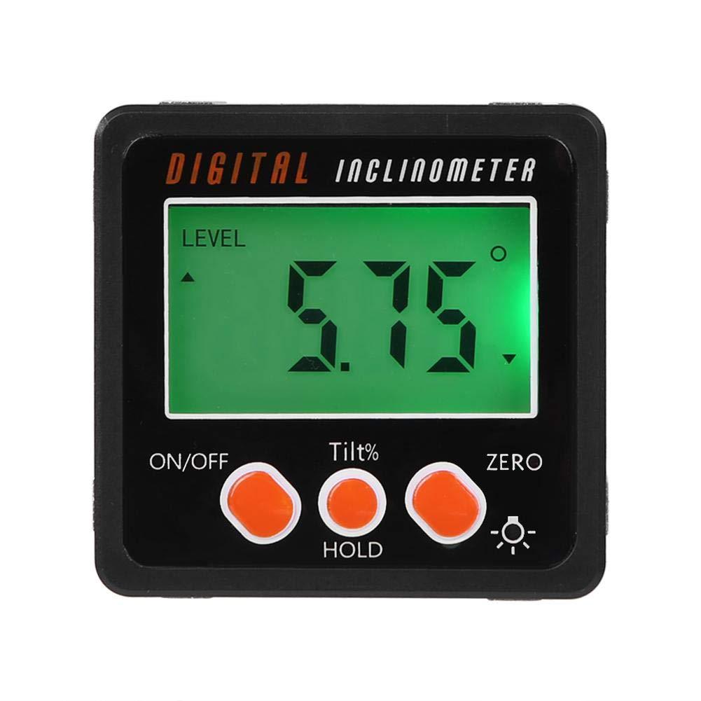 Matefield Caja de Bisel delBuscador de /Ángulos Inclin/ómetro delTransportador Digital con Base Magn/ética