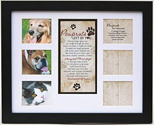 Pet Memorial Collage Frame for Dog or Cat with Sympathy Pawprints Left by You Poem -