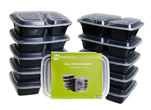 Mercimall 20Pack 35oz Meal Prep Containers 2 Compartment Lunch Boxes Leak Resistant Food Storage Microwave & Dishwasher & Freezer Safe Bento Box by mercimall (Image #7)