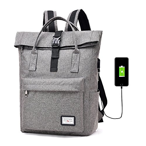 Laptop Backpack 15.6 Inch Tablets Bag Casual College School Daypack Shoulder Book Bags,Anti Theft Water Resistant Rucksack with USB Charging Port for Women & Men,College Student (Grey)