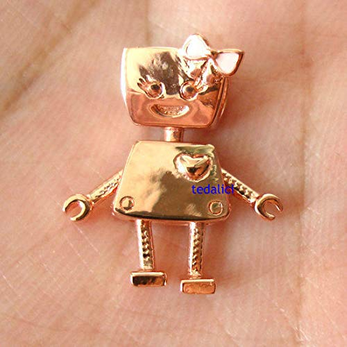 FidgetKute Silver and Copper Alloy Bella Bot Charm Rose Pink Fit European Charm Bracelet