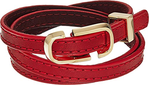 Marc Jacobs Women's Double J Triple Wrap Leather Bracelet Red Multi One (Marc Jacobs Red Leather)