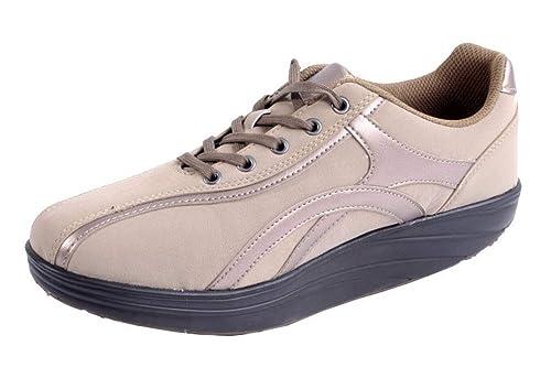 online retailer ce971 3275a Damen Aktiv Outdoor Schuhe mit Rundsohle Fitnessschuhe Sneaker  Gesundheitsschuhe Aktivschuhe Gondelschuhe Freizeitschuhe beige Gr. 37-40