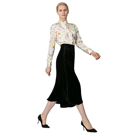 06b970e7ce63 LILYSILK Ladies Elegant Silk Velvet Skirt Breathably Comfortable Skirt:  Amazon.co.uk: Clothing