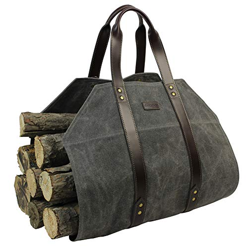 - Log Carrier|Waxed Canvas Log Holder|Firewood Carrier Tote Bag|Fireplace Wood Stove Accessories-Grey