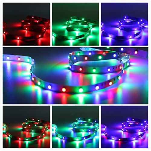 Salcar 5m bunter LED Strip mit 300 LEDs (SMD3528), 16 Mischfarben auswählbar, inkl. 24 Tasten IR-Fernbedienung, Controller und 12V 24W Netzteil