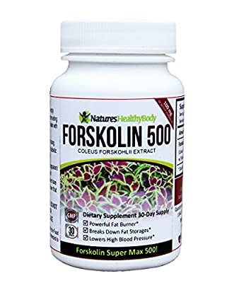 Forskolin 500 mg and 250 Super MAX - Pure Coleus Forskolin - Forskolin 500 mg and 250 mg - Highest Extract concentration on the Market (500mg)! - Standardized to 20% yielding an incredible 100 mg and 50 mg Active Forskolin - Belly Buster - Promotes the Br