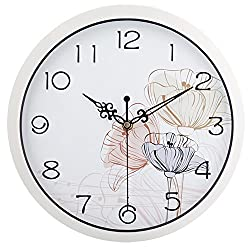HITO Modern Colorful Floral Silent Non-ticking Wall Clock- 10 Inches (fl4 white)