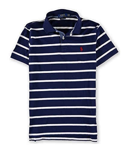 RALPH LAUREN Mens Striped Rugby Polo Shirt Blue S (Lauren Rugby Ralph Shirt Striped)