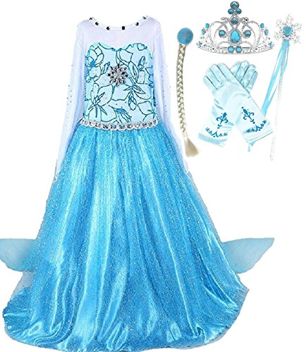 Snow Queen Elsa Princess Party Dress Costume with Accessories (3-4, Style 2) (Elsa Costumes)