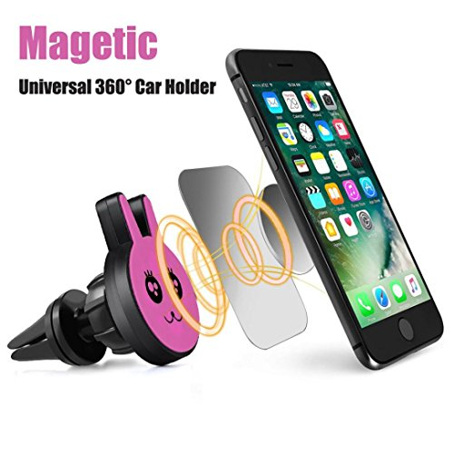 (Portable Car Holder,Fheaven Stand Universal Cell Phone GPS Air Vent Magnetic Car Mount Cradle Holder (Hot Pink))