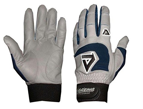 Akadema Professional Batting Gloves (Grey/Navy, X-Small)