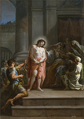 Costumes Current Ideas 2016 (Polyster Canvas ,the High Quality Art Decorative Canvas Prints Of Oil Painting 'Giaquinto Corrado Cristo Ante Pilatos En El Pretorio Ca. 1754 ', 20 X 28 Inch / 51 X)