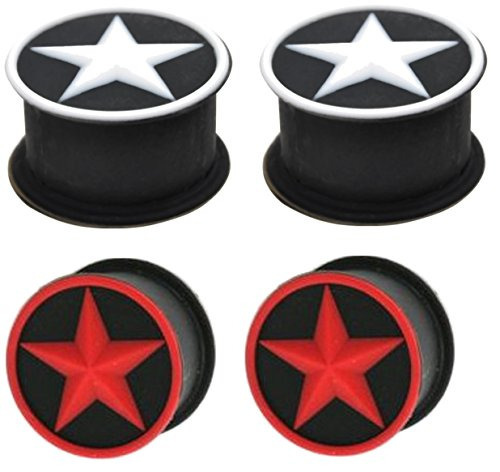 ar Black Silicone Tunnels Ear Plugs Gauges rubber 2g 0g 00g 1/2 9/16 5/8 (00g 10mm) (Star Tunnel)