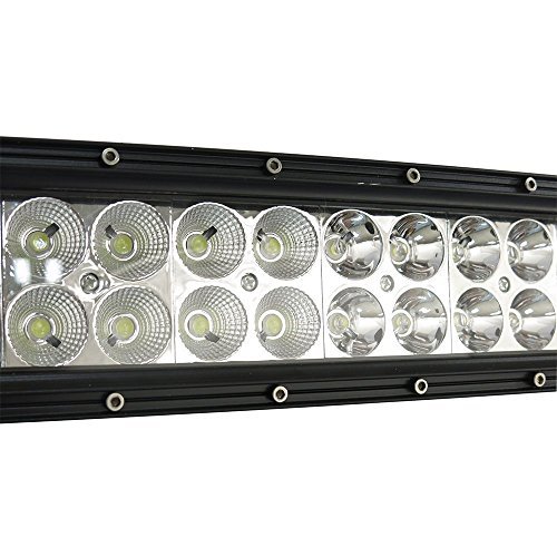 Easynew IP68 300W 10-30V Waterproof Curved LED Light Bar (52-Inch) with 2 Piece 18W LED Lights and Wiring Harness, Mounts