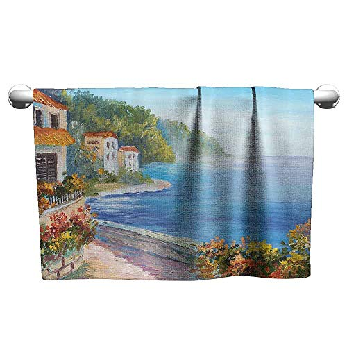 (duommhome Lakehouse Decor Collection Beach Activity Bath Towel House Near The Sea with Colorful Flowers and Seascape in Summer Oil Painting W19 x L39 Blue Orange Ivory Green)