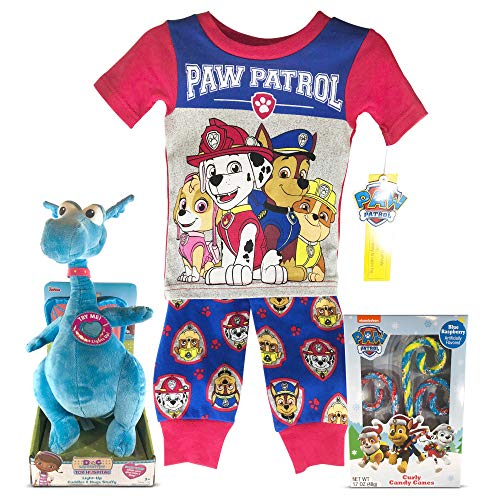 - 2T Paw Patrol 2 pc. PJ Set with Paw Patrol Curly Candy Canes & Doc McStuffins Blue Light-Up Cuddles & Hugs Stuffy Plush Toy - Stuffy Talks (3pc Bundle)