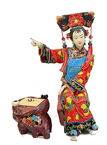 Handmade Porcelain Figurine Chinese Lady Shiwan Ceramic Sculpture Playing Chess
