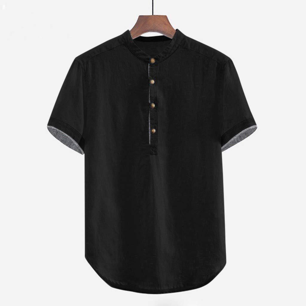 Cotton Linen Shirts for Men Short Sleeve Button Baggy Solid Plus Size T Shirt Tops Blouse