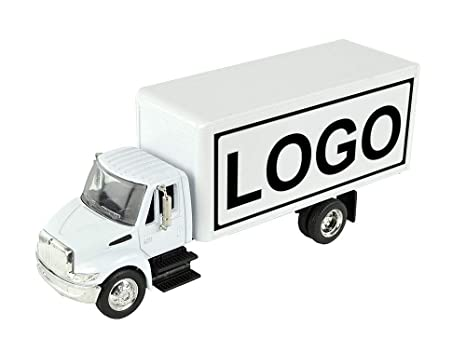 Shop72 Personalized Diecast Truck 1:43 Scale International 4200 Customized  White Box Truck with Your Logo Image or Message