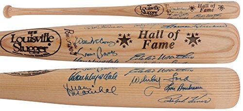(MLB HOF'ers Autographed Blonde Louisville Slugger Bat with 11 Signautres - JSA Certified - Autographed MLB Bats)