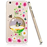 3Cworld iPhone 6s Plus / 6 Plus Case Clear Matte Back Cover Hardshell with Relief Design [5.5'' Hard Plastic] - Retail Packaging - 21 Patterns (butterfly-pink)