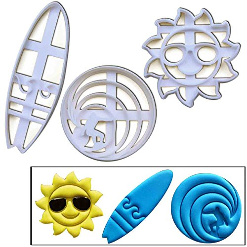 SET of 3 Surfing theme cookie cutters (Surfboard, Surfer and Happy Sunshine), 3 pcs, Ideal gift for Surfers