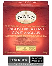 Twinings of London Classic English Breakfast Tea Bags | Caffeinated, Smooth, Flavourful, Robust Black Tea | 50 Count (Pack of 6)