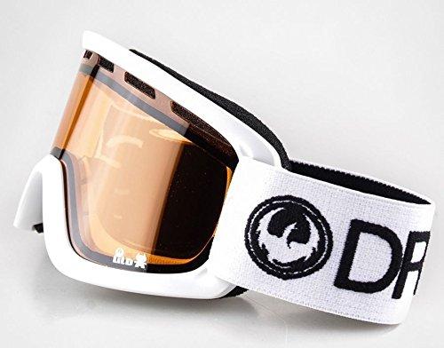 Dragon Lil D White Amber kids 5-12 yr junior ski snowboard goggles ()