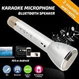 Wireless Microphone Karaoke, Portable Karaoke Player with Bluetooth Speaker for Home KTV Singing Support IOS Apple Iphone Ipad Android Smartphone PC (Silver)