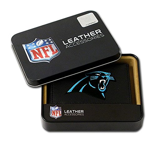 Carolina Panthers Embroidered Football (Carolina Panthers Embroidered Leather Tri-Fold Wallet - Licensed NFL Football Merchandise)