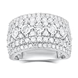 Sterling Silver Diamond Cluster Anniversary Ring (2 1/4 cttw,J-K Color, I3 Clarity)