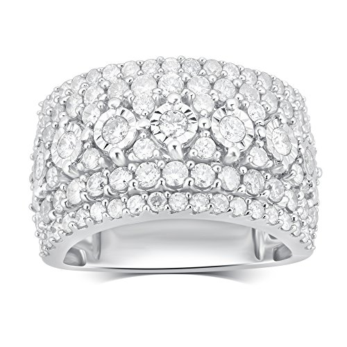 Sterling Silver Diamond Cluster Anniversary Ring (2 1/4 cttw,J-K Color, I3 Clarity) 51iWk9BY6EL