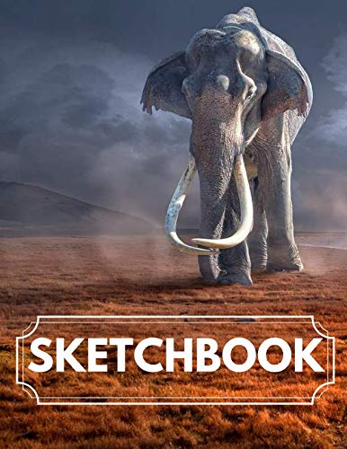 Blank Sketchbook: Breathtaking Blank Elephant Sketchbook for Graphics, Sketching and Whiting, Unique Interior, Red Dust with Grass Design 8.5x11 (11 Plush Elephant)