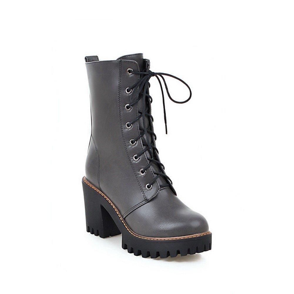 AdeeSu Girls Solid Wheeled Heel Shoes Shoes Heel Round Toe Imitated Leather Boots B06XFQ2DBS Platform b1af69