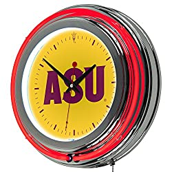 NCAA Arizona State University Chrome Double Ring Neon Clock, 14