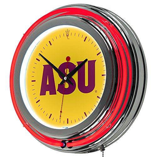 NCAA Arizona State University Chrome Double Ring Neon Clock, - Neon State University Clock