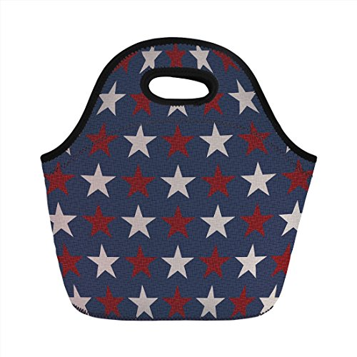 Neoprene Lunch Bag,Primitive Country Decor,Symmetric Stars United States Independence Freedom Theme Decorative,Dark Blue Ruby White,for Kids Adult Thermal Insulated Tote Bags