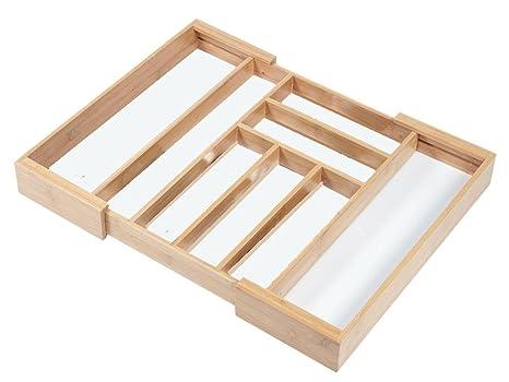 Kesper bambú ajustable organizador, cubiertos, para cubertería, ancho - 35 - 58 cm