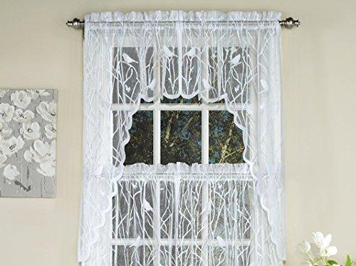 Ben & Jonah Songbird Elegance by Ben&Jonah Sheer Lace Tailored Window Curtain Swag - White (56