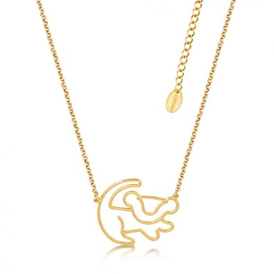 Disney Couture Classic Lion King Platinum-Plated Simba Outline Necklace w8y1w8P5