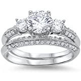 Amazing Round Cz Bridal Set .925 Sterling Silver Ring Sizes 4-11