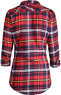 2LUV Women's Long Sleeve Button Up Plaid Flannel Shirt with Sherpa Lining