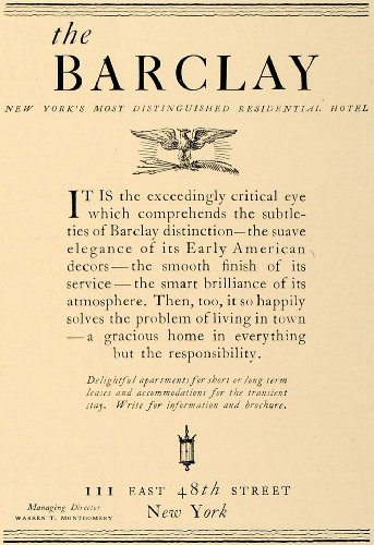 1928 Ad Barclay Residential Hotel 111 E  48Th St  Ny   Original Print Ad