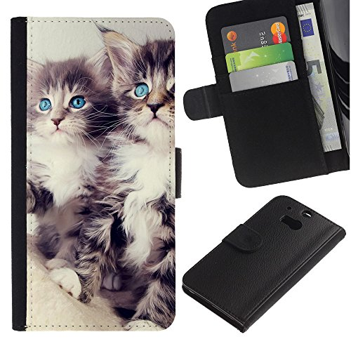 EuroCase - HTC One M8 - Maine coon kittens cat longhair - Cuero PU Delgado caso cubierta Shell Armor Funda Case Cover