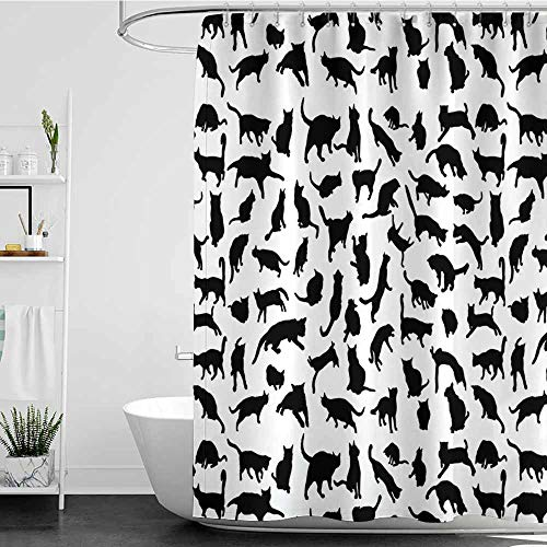 Tim1Beve Polyester Fabric Shower Curtain,Cat Lover Black Silhouettes of Cats in Different Poses Scratching Stretching and Playing,Art Print Polyester,W48x84L Black White
