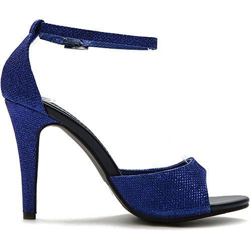 Ollio Women&-39-s Shoe Metalic Glitter Ankle Strap High Heel Dress ...